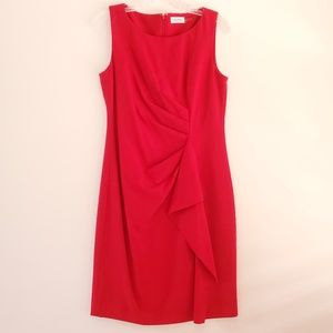 Calvin Klein Sleeveless Red Cocktail Dress Size 8
